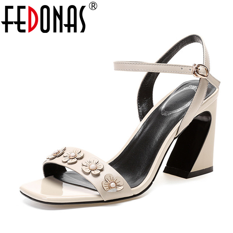 FEDONAS Women Sandals 2018 Sping Summer Peep Toe High Heels Gladiator Sandals Sweet Flowers Wedding Party Shoes Woman Pumps centric 406 45000 wheel bearing and hub assembly