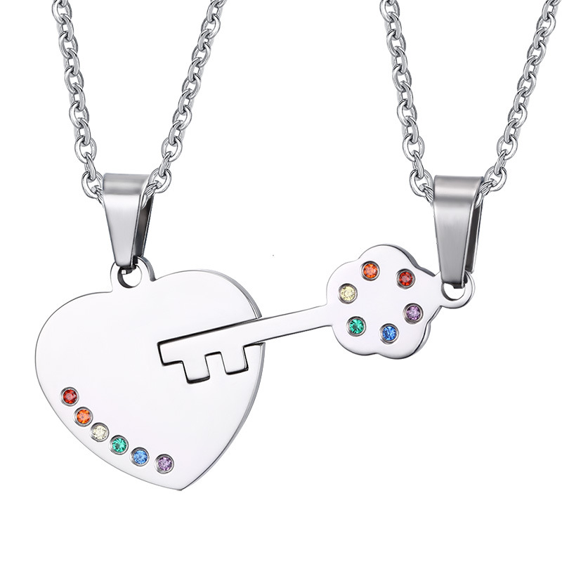 Rainbow Key Couples Necklace Pendant Sets Rainbow LGBT Jewelry Men Women Stainless Steel Necklace