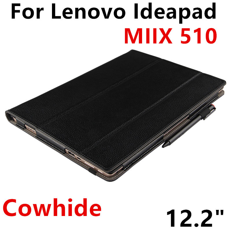 Case Cowhide For Lenovo Ideapad Miix 510 Genuine Protective Smart cover Leather Tablet PC For MIIX 5 Protector 12.2 inch Cover case sleeve for lenovo ideapad miix 310 320 miix310 miix320 miix325 miix210 10 1inch tablet protective cover pu leather pouch