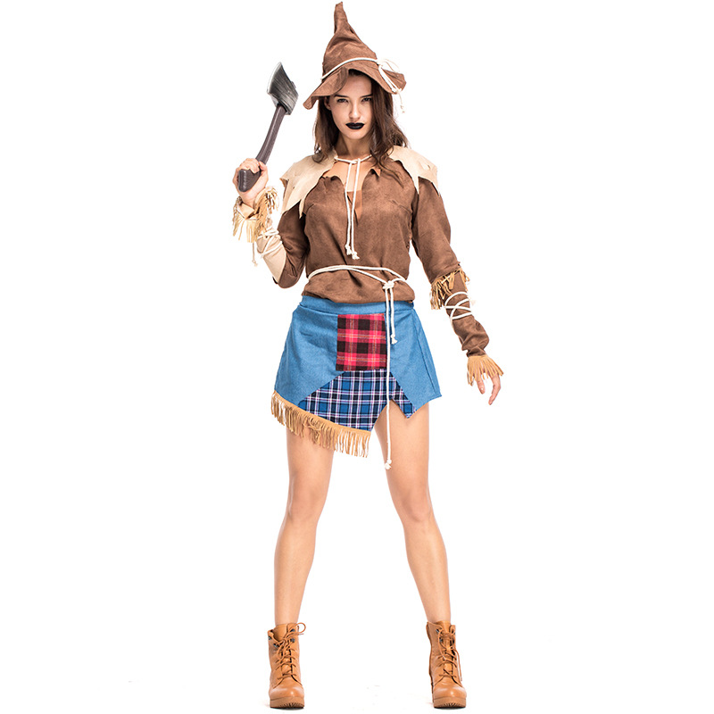 Umorden Creepy Scarecrow Costume Dress for Women Adult Halloween Classic Costumes Cosplay