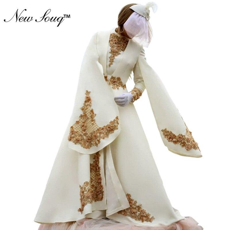 Vintage Muslim   Evening     Dresses   2019 Ivory Long Sleeves Islamic Dubai Saudi Arabic Satin Formal Party Gowns Abendkleider New