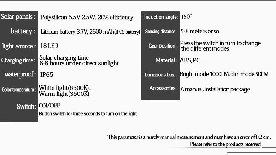 Luz Solar Sensor de Movimento PIR Jardim