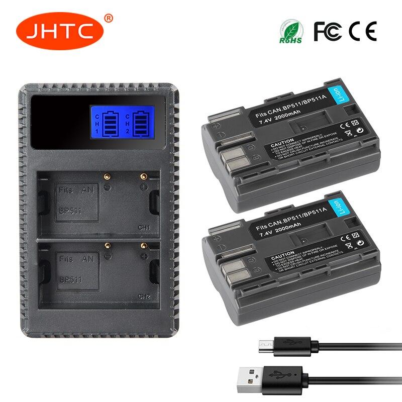 JHTC 2 шт./лот <font><b>BP</b></font>&#8211;<font><b>511A</b></font> <font><b>BP</b></font>-511 <font><b>BP</b></font> 511 <font><b>511A</b></font> BP511 BP511A Батарея + ЖК-дисплей USB Зарядное устройство для Canon EOS 40D 300D 5D 20D 30D 50D камеры