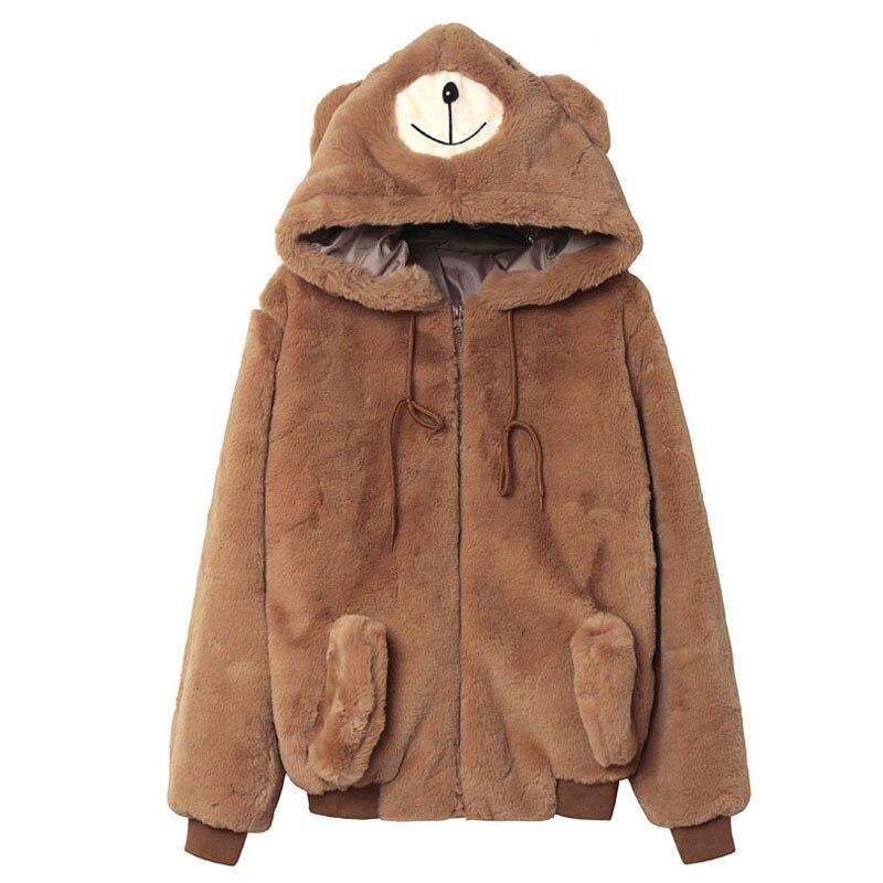 Popular Faux Fur Hood Coat with Ears-Buy Cheap Faux Fur Hood Coat