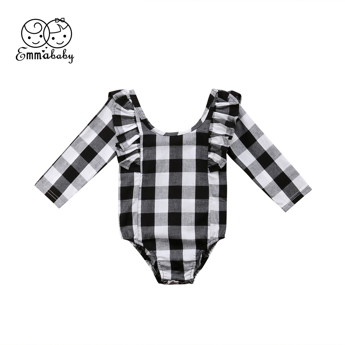 0-24M Cute Newborn Baby Girl Ruffles Long Sleeve Black White Plaid Princess Baby   Romper   Jumpsuit Outfits Clothes