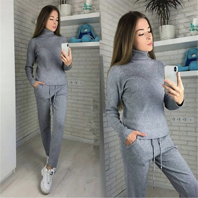 MVGIRLRU Woman Sweater Suits Casual  Knit Tracksuit Turtleneck Pullovers+pants Two Piece Sets Female Outfits 2