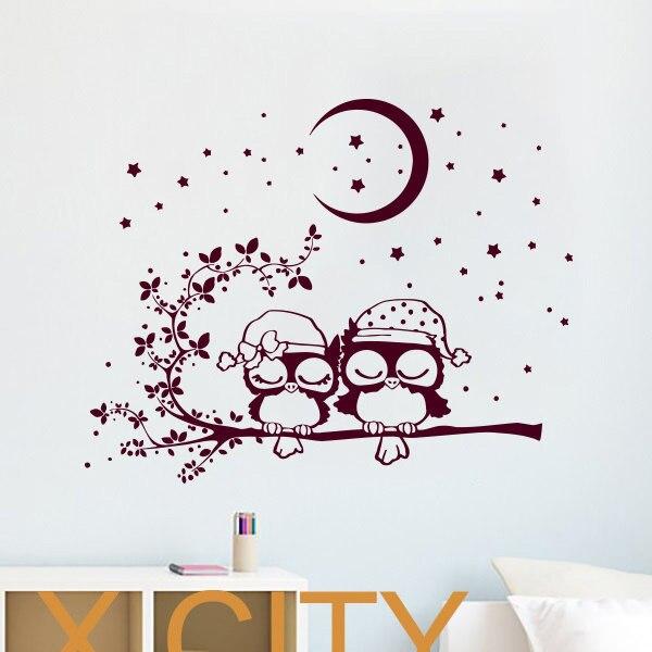 Hiboux dormir enfants stickers muraux Art vinyle autocollant lune croissant  étoiles pépinière bébé chambre salle de jeux décor à la maison