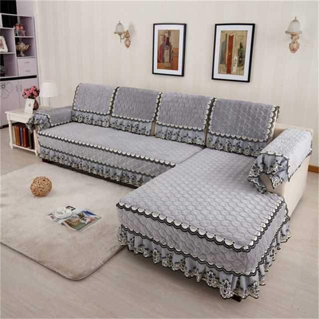 Fashion L Shaped Cover Sofa Towel Pads Fleeced Fabric Knit Corner Sofa  Cushion Cover Protector Home Textile For Living Room T33