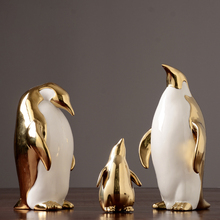 Europe ceramic penguin crafts Home Decoration Animal Figurines Miniatures Fairy Garden porcelain accessories wedding Gifts