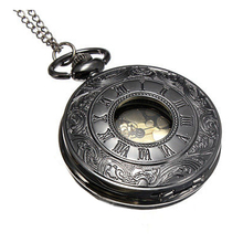 YCYS Vintage Black Roman Numerals Steampunk Quartz Necklace Chain Pocket Watch