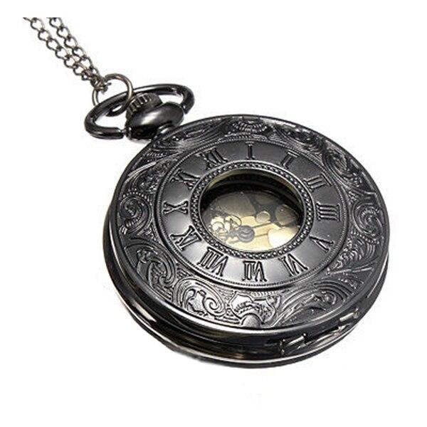 YCYS Vintage Black Roman Numerals font b Steampunk b font Quartz Necklace Chain Pocket font b