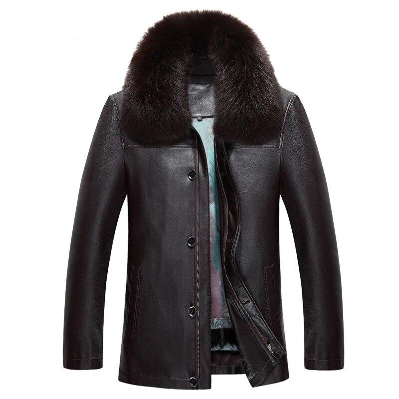 Новинка 817, модная зимняя одежда, мужская длинная куртка, кожаное пальто, мужское кожаное пальто, зимняя меховая куртка из кроличьего меха с ... - 4