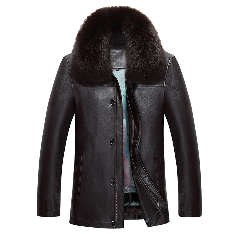 817 New Fashion Winter Clothing Men's long Jacket Leather Coat Men's Leather Coat Winter Rabbit Fur linning Mink Fur Jacket - 4