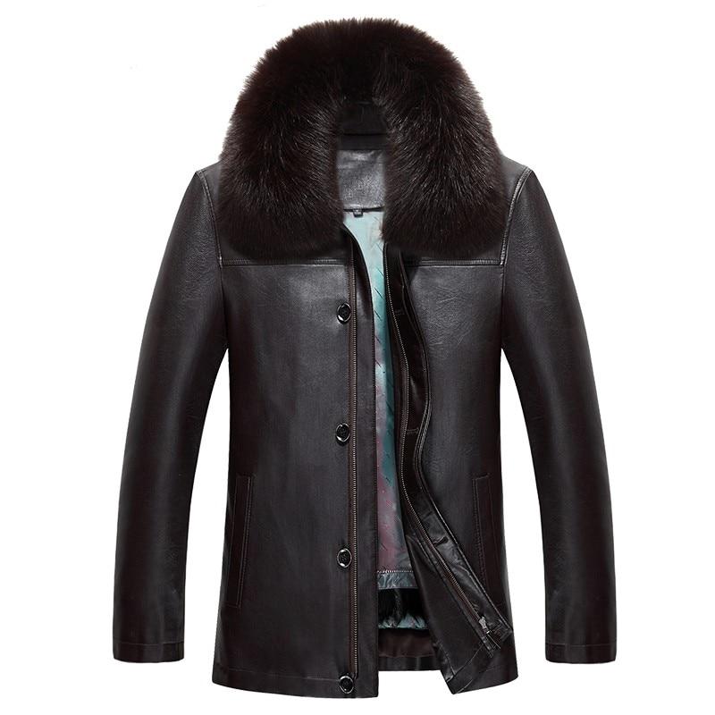 817 nueva moda ropa de invierno Chaqueta larga para hombre abrigo de cuero para hombre abrigo de piel de conejo de invierno chaqueta de piel de visón - 4