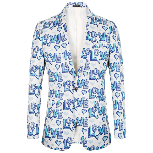 Letters print Suit jackets Men 2018 Halloween blazers design Suit Jacket big size Men Party Stage Singer Costume Tuxedo coat