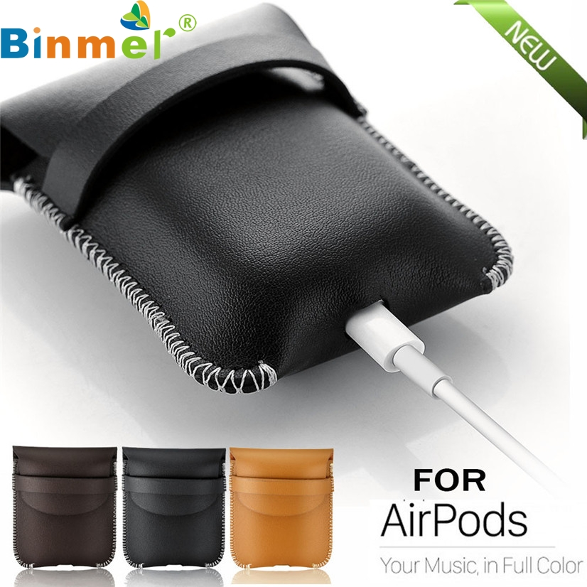 Factory Price Binmer Hot Selling Luxury Genuine Leather Hang Case Cover Pouch For Apple Airpods Drop Shipping