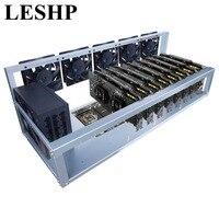 LESHP 8 Графика карты GPU горные машины рамка с 5 вентиляторы охлаждения USB PCI E кабель компьютер BTC LTC монета шахтер сервер случае