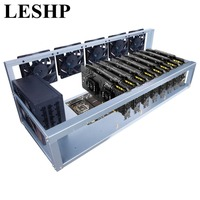 LESHP 8 Graphics Card GPU Mining Machine Frame With 5 Cooling Fans USB PCI E Cable Computer BTC LTC Coin Miner Server Case