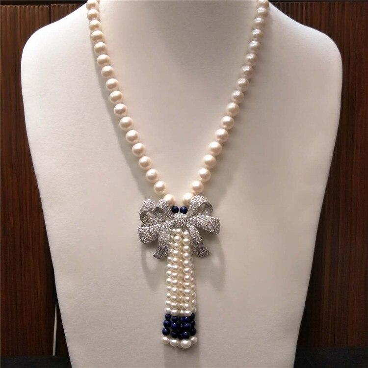 Heißer verkauf natürliche 9 10mm weiß süßwasser perlen Lapis lazuli bowknot zubehör lange halskette pullover kette mode schmuck-in Kette Halsketten aus Schmuck und Accessoires bei  Gruppe 1