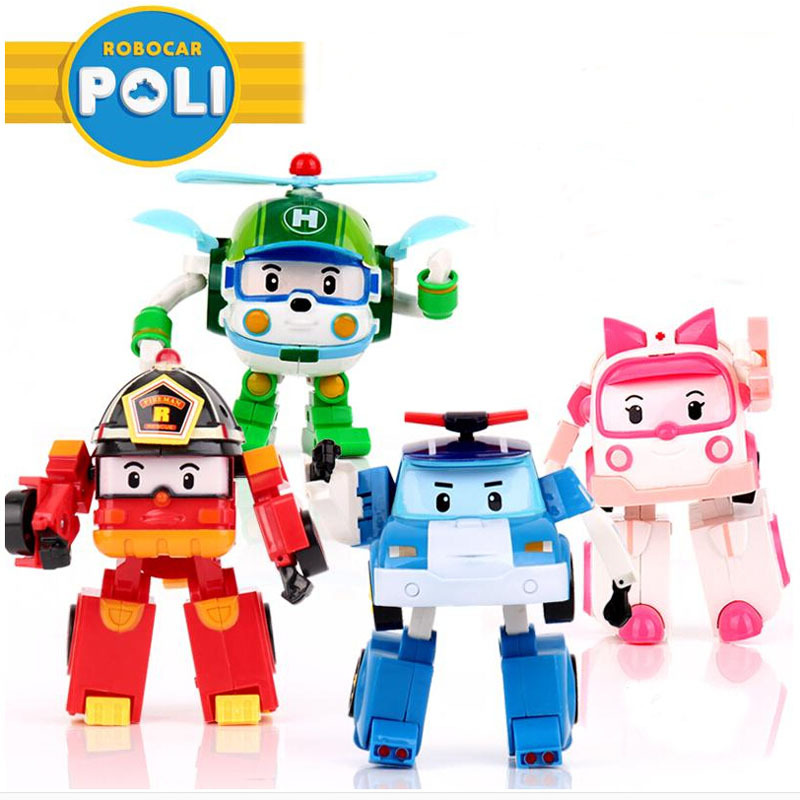 4pcs Set Robocar Poli Toy Korea Robot Car Transformation Toys Poli Robocar Toys Without Box Best