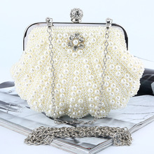 New 2016 Fashion Pearl Diamond Evening Bag Handmade Bags Luxury Satin Evening Bag Retro Elegant Banquet Bag with Shoulder Chain