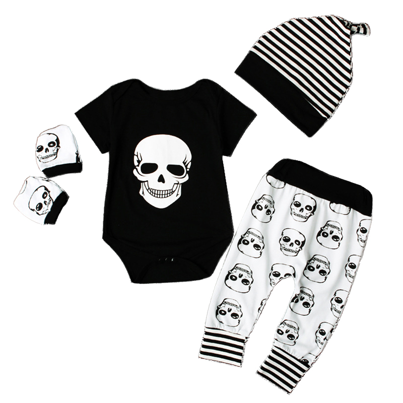 Fashion Newborn baby clothing Boy Girl Clothes Skull Short Sleeve Tops Romper Pants Hat 4pcs Outfits Cotton Summer Baby Suit fashion newborn baby girl clothes short romper tutu skirt