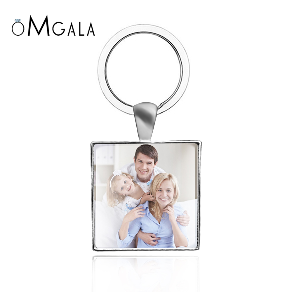 OMGALA Personalized Calendar Keychain Custom Your Family Put Baby Photo Square Keychain Gift For Lover Friends Glass Cabochon
