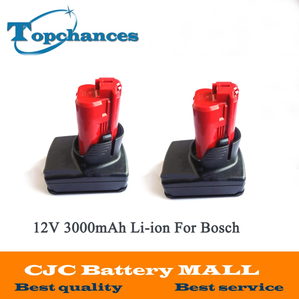 2 PCS New 12V 3000mAh 3.0AH Li-ion High Capacity Rechargeable Power Tool Battery For Bosch BAT411 2 607 336 996 10pcs lot new iws5a high quality multi purpose headlamp high brightness for mining hunting camping lamp usb charger 6 2ah 3 7v