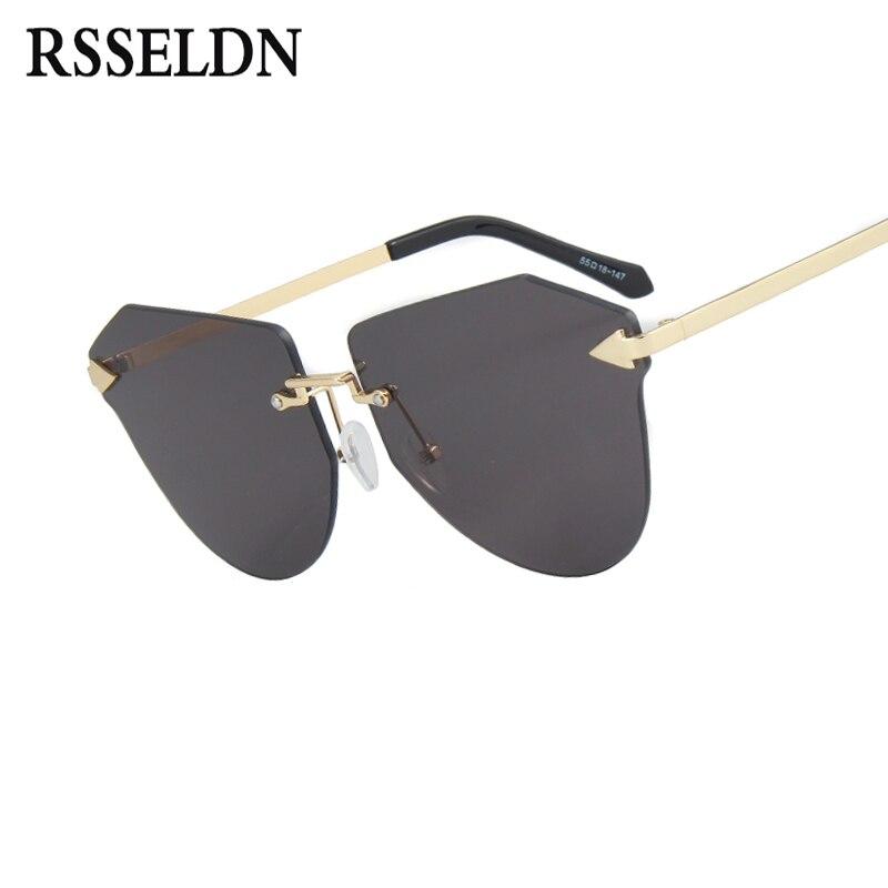 2e941fe0d4fd2 RSSELDN Summer Women Cat Eye Sun Glasses Famous Brand Designer Fashion  Rimless Sunglasses Women Style Glasses UV400 oculos D9837-in Sunglasses  from Apparel ...