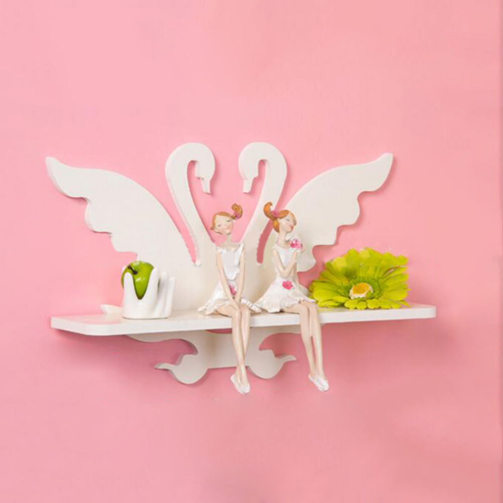 NEW WPC Board Bathroom Shelves White Swan Wall font b Racks b font Living Room Home