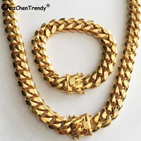 14MM Men Cuban Miami Link Chain Necklace Bracelets 316L Stainless steel Dargon Clasp Gold Tone Hip hop Heavy Chain Jewelry Set