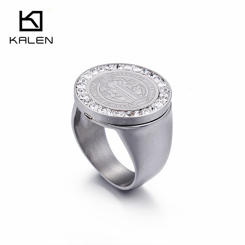 Competent Kalen Saint Benedict 20mm Width Medal Silver Rings Stainless Steel Cross Rhinestone Circle Ring Catholicism Jewelry For Women Punctual Timing