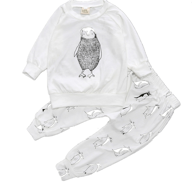 2017 Baby Clothing Sets Boys Girls Cartoon Owl Baby's Sets Kids Long-Sleeved Cotton Tracksuit Children Clothes Suit
