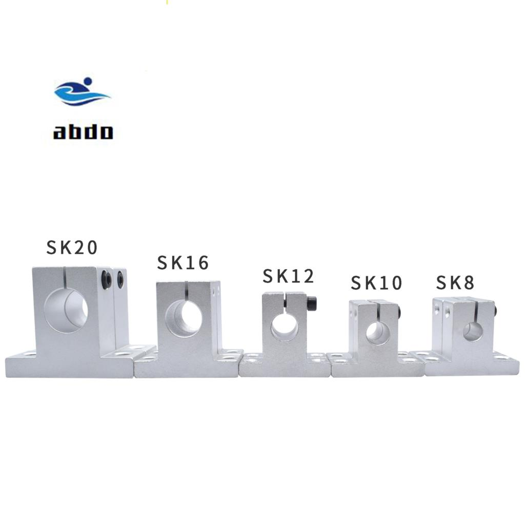 High Quality 4pcs SK8 8mm SK10 10mm SK12 12mm SK16 16mm SK20 20mm Shaft Support Linear Shaft Support Linear Rod CNC Router