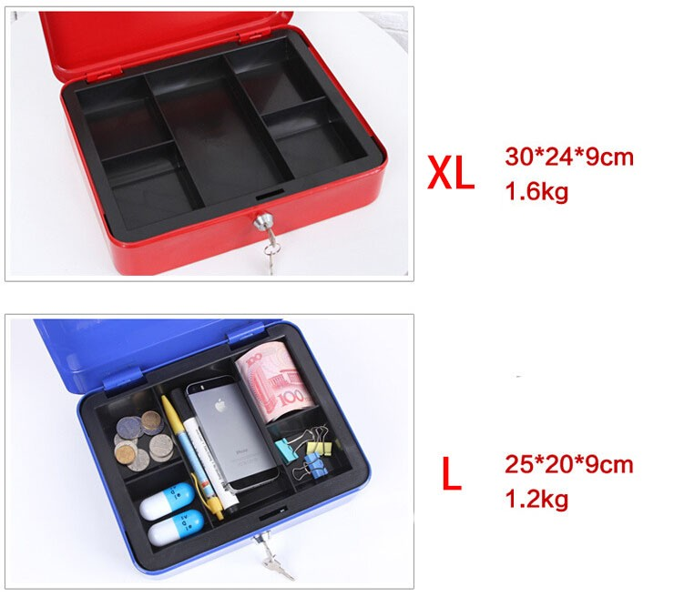 Mini Portable Security Safe Box Money Jewelry Storage Collection Box For Home School Office With Compartment Tray Lockable XS (14)