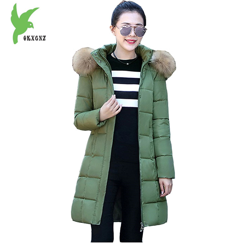 2017 New Women winter jacket down cotton coat Fashion hooded Fur collar parka Medium length Plus Size Slim Outerwear OKXGNZ1084 original projector lamp vt75lp for nec lt280 lt375 lt380 lt380g vt470 vt670 vt675 vt676 lt280g vt670g