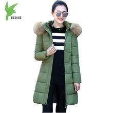 2017 New Women winter jacket down cotton coat Fashion hooded Fur collar parka Medium length Plus Size Slim Outerwear OKXGNZ1084