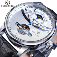 Forsining Skeleton White Automatic Mechanical Watch Mens Genuine Leather Strap Sun Moon Display Fashion Tourbillon Wrist Watches
