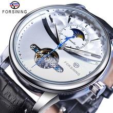 Forsining reloj mecánico automático para hombre, pulsera de cuero genuino, con pantalla de sol y luna, Tourbillon, color blanco