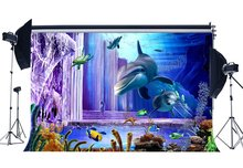 Underwater World Backdrop 3D Aquarium Backdrops Fish Dolphin Turtle Under the Sea Photography Background