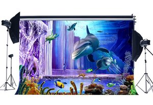 Image 1 - Underwater World Backdrop 3D Aquarium Backdrops Fish Dolphin Turtle Under the Sea Photography Background