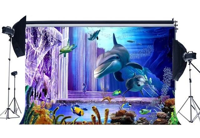 Underwater World Sfondo 3D Acquario Fondali Pesce Delfino Tartaruga Sotto il Mare Fotografia di Sfondo