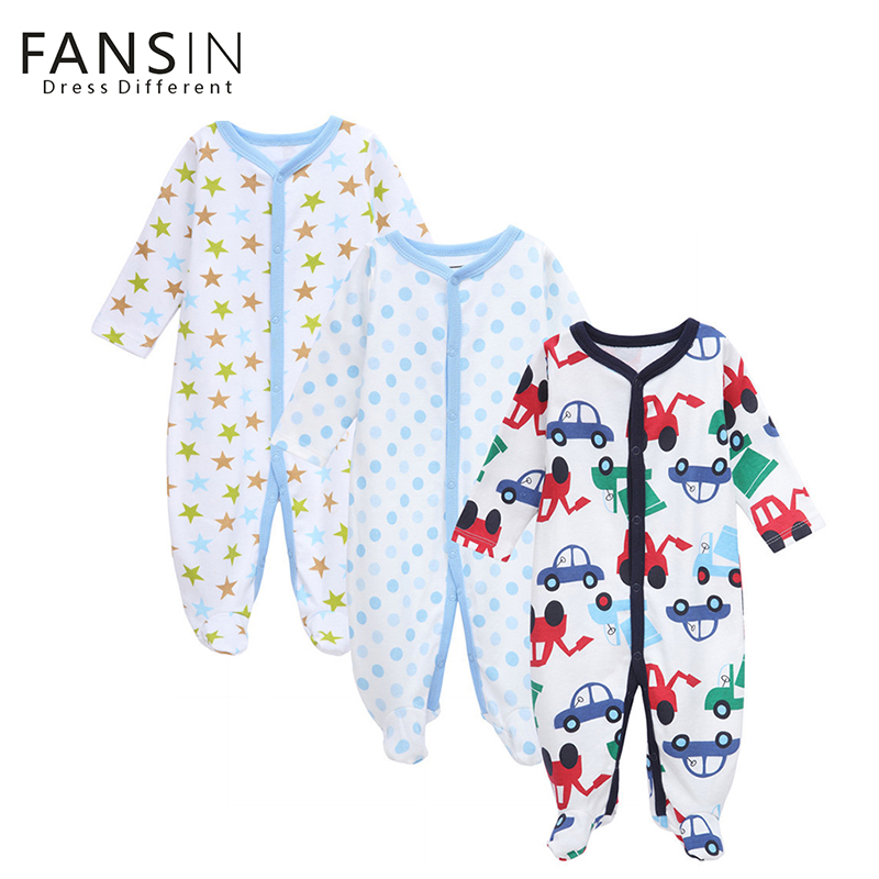 3 PCS Fansin Brand Newborn Baby Romper Long Sleeve Infant Baby Boys Girls Jumpsuits Roupa Bebes 100% Cotton Baby Clothing Sets newborn winter autumn baby rompers baby clothing for girls boys cotton baby romper long sleeve baby girl clothing jumpsuits