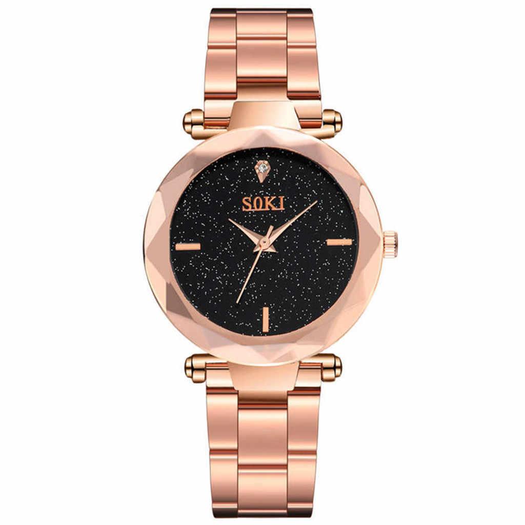 Nieuwe 2019 Starry Quartz hoogwaardige Diamant vrouwen Ster Stalen Riem Tafel luxe horloge vrouwen roestvrij staal muur klok sticker 50