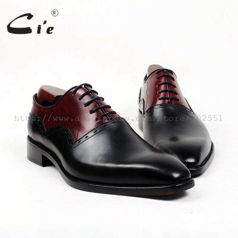 cie square plain toe black wine handmade pure genuine calf leather outsole breathable men s dress