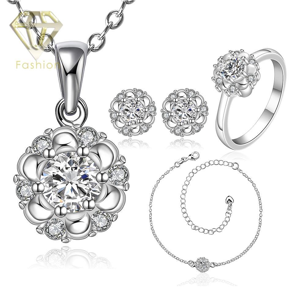 Değer Satış 4 Adet Kolye Küpe ile Halhal Yüzük Düğün Aksesuarları Gümüş Kaplama Beyaz Avusturyalı Kristal