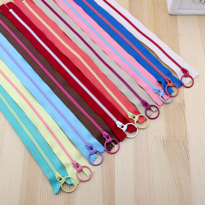 10Pcs/Lot 15/20/30/40cm 3# Resin Zippers Lighting Lifting Ring Zipper for Sewing Bag Garment Material DIY Handmade Accessory Zip