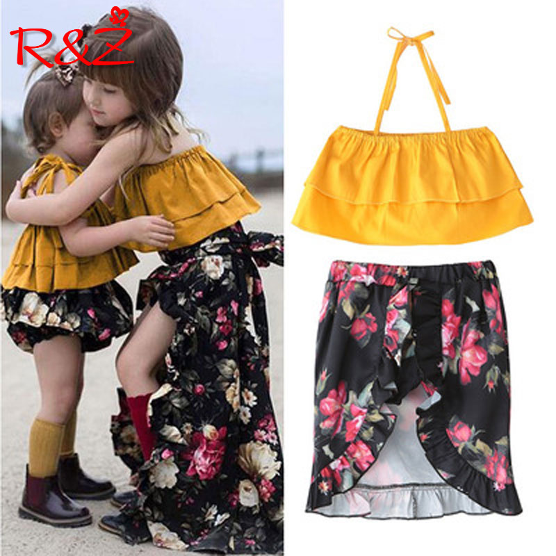 R&Z 2018 summer new fashion girls bright yellow straps floral suit tube top dress two-piece