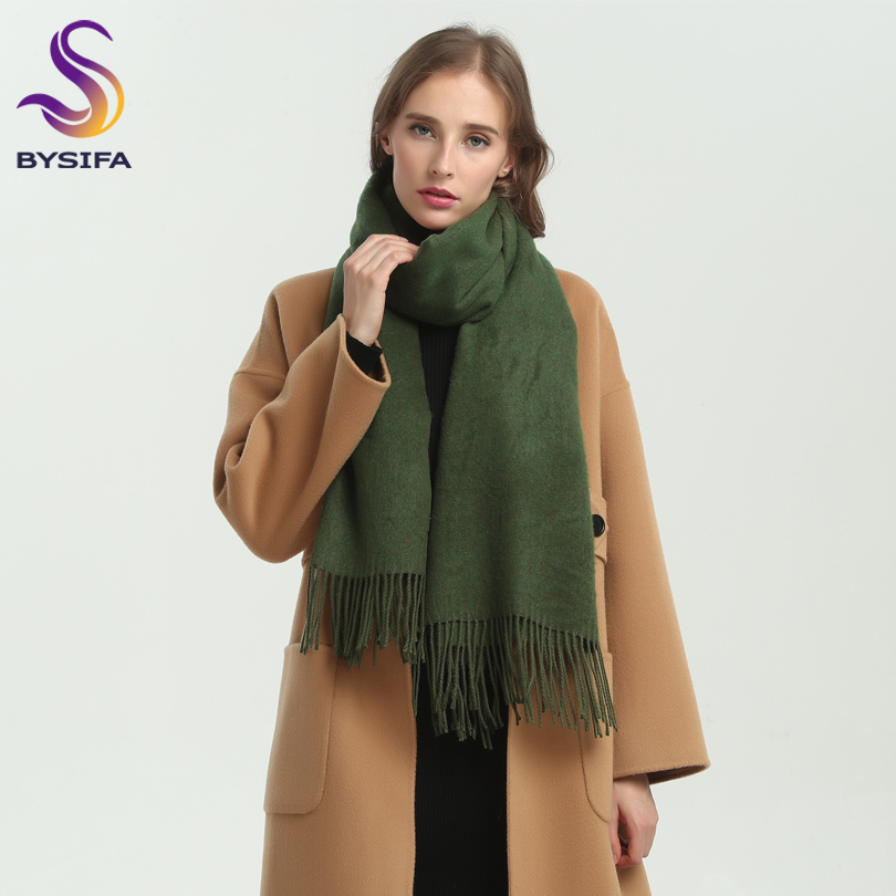 [BYSIFA] New Winter Ladies Army Green Pashmina   Scarves   Shawls Fashion Trendy Tassel Women Luxury Cashmere Pashmina   Scarves     Wraps