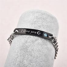Couple Bracelets I Love You To The Moon And Back Stainless Steel Bangles Crystal Star Signet For Women Men Jewelry